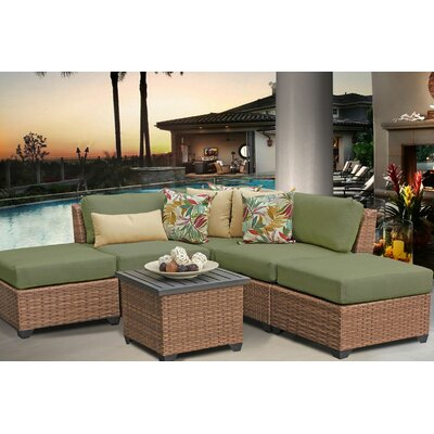 Laguna 6 Piece Sectional Seating Group with Cushion Fabric: Cilantro