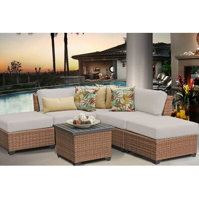 Laguna 6 Piece Sectional Seating Group with Cushion Fabric: Beige