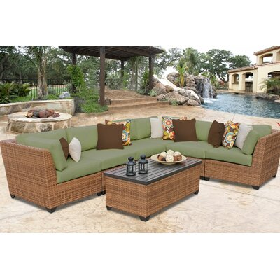 Laguna 7 Piece Sectional Seating Group with Cushion Fabric: Cilantro