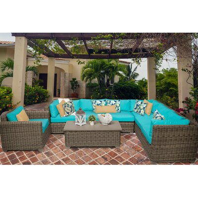 Cape Cod 8 Piece Sectional Seating Group with Cushion Fabric: Aruba