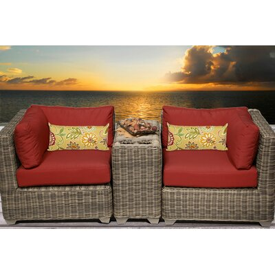 Cape Cod 3 Piece Deep Seating Group with Cushion Fabric: Terracotta