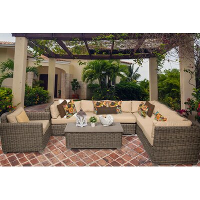 Cape Cod 8 Piece Sectional Seating Group with Cushion Fabric: Wheat