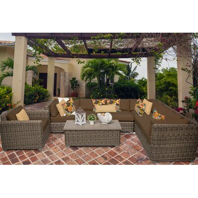 Cape Cod 8 Piece Sectional Seating Group with Cushion Fabric: Cocoa