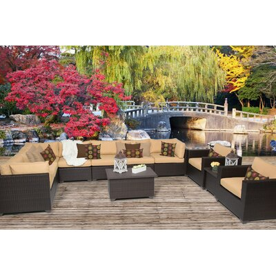 Belle 11 Piece Sectional Seating Group with Cushion Fabric: Sesame