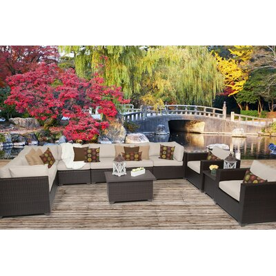 Belle 11 Piece Sectional Seating Group with Cushion Fabric: Beige