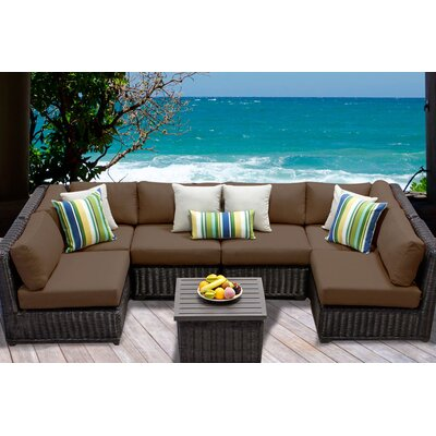 Venice 7 Piece Sectional Seating Group with Cushion Fabric: Cocoa
