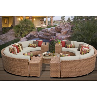 Laguna 11 Piece Rattan Sectional Seating Group with Cushions Fabric: Beige
