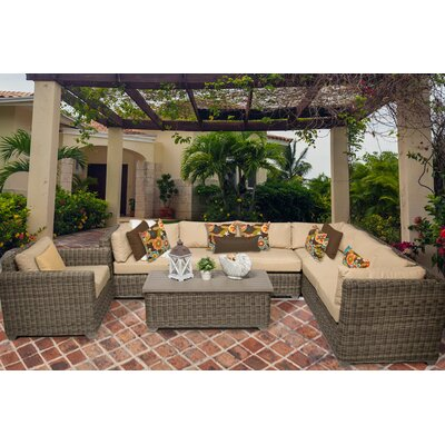 Cape Cod 8 Piece Sectional Seating Group with Cushion Fabric: Sesame