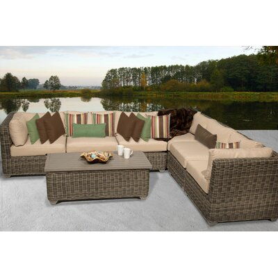 Cape Cod 7 Piece Sectional Seating Group with Cushion Fabric: Wheat