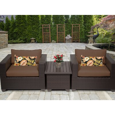 Belle 3 Piece Deep Seating Group with Cushion Fabric: Cocoa