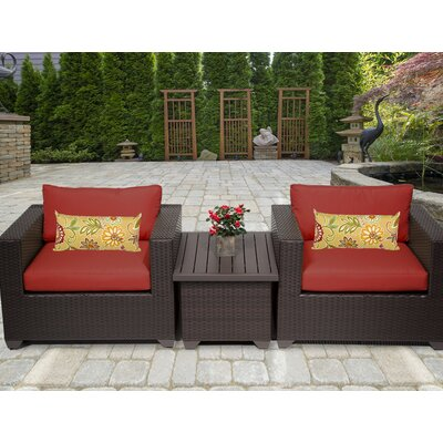 Belle 3 Piece Deep Seating Group with Cushion Fabric: Terracotta