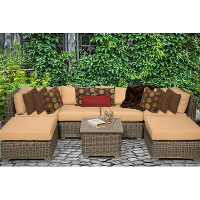 Cape Cod 7 Piece Sectional Seating Group with Cushion Fabric: Sesame