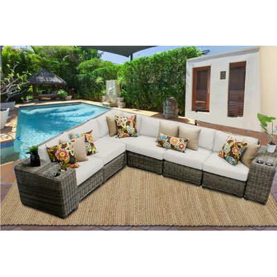Cape Cod 8 Piece Sectional Seating Group with Cushion Fabric: Beige