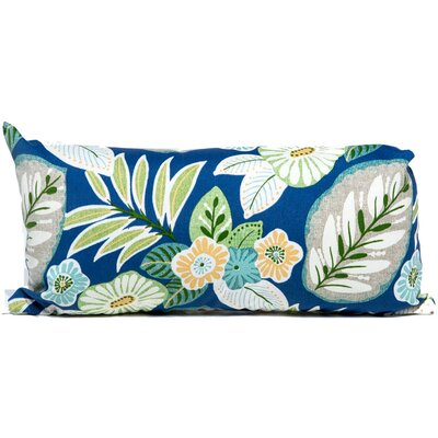 Tropical Floral Outdoor Lumbar Pillow Fabric: Blue