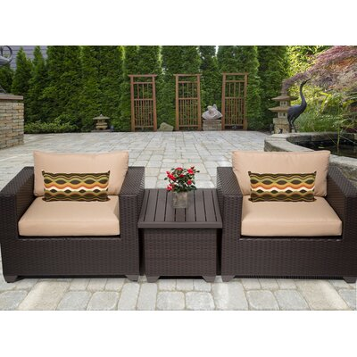 Belle 3 Piece Deep Seating Group with Cushion Fabric: Wheat