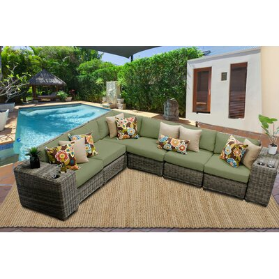 Cape Cod 8 Piece Sectional Seating Group with Cushion Fabric: Cilantro