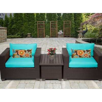 Belle 3 Piece Deep Seating Group with Cushion Fabric: Aruba