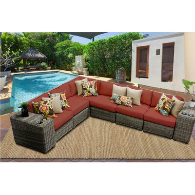 Cape Cod 8 Piece Sectional Seating Group with Cushion Fabric: Terracotta