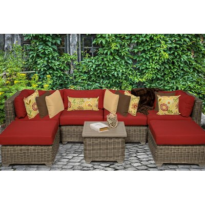 Cape Cod 7 Piece Sectional Seating Group with Cushion Fabric: Terracotta