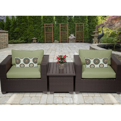 Belle 3 Piece Deep Seating Group with Cushion Fabric: Cilantro
