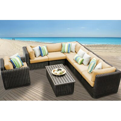 Venice 8 Piece Sectional Seating Group with Cushion Fabric: Sesame