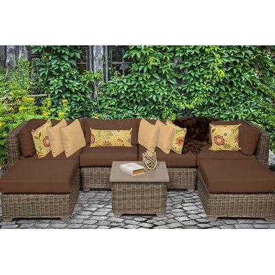Cape Cod 7 Piece Sectional Seating Group with Cushion Fabric: Cocoa