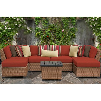 Laguna 7 Piece Sectional Seating Group with Cushion Fabric: Terracotta