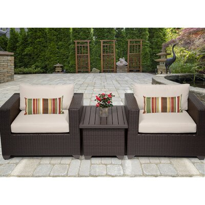Belle 3 Piece Deep Seating Group with Cushion Fabric: Beige