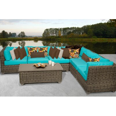 Cape Cod 7 Piece Sectional Seating Group with Cushion Fabric: White