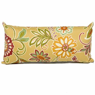 Golden Floral Outdoor Lumbar Pillow