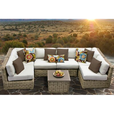 Cape Cod 7 Piece Sectional Seating Group with Cushion Fabric: Beige