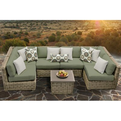 Cape Cod 7 Piece Sectional Seating Group with Cushion Fabric: Cilantro
