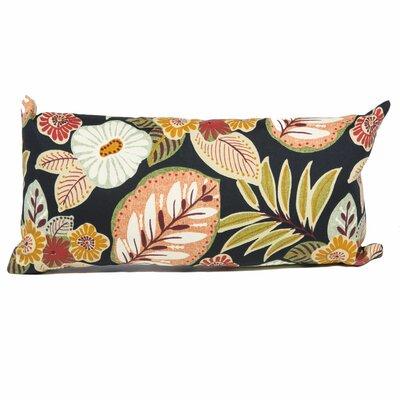 Tropical Floral Outdoor Lumbar Pillow Fabric: Black