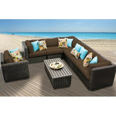 Venice 8 Piece Sectional Seating Group with Cushion Fabric: Cocoa