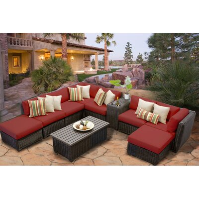 Venice 10 Piece Sectional Seating Group with Cushion Fabric: Terracotta