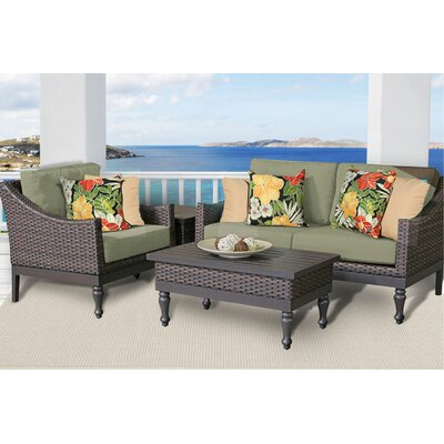 Manhattan 4 Piece Deep Seating Group with Cushion Fabric: Cilantro