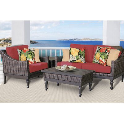 Manhattan 4 Piece Deep Seating Group with Cushion Fabric: Terracotta