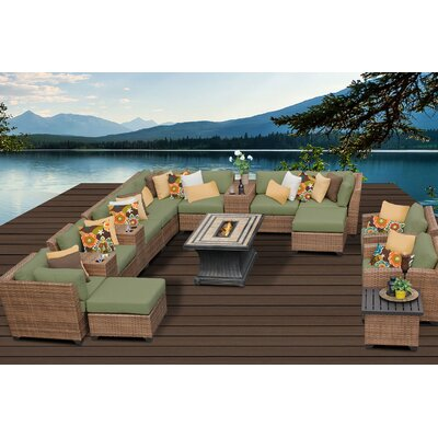 Laguna 17 Piece Fire Pit Seating Group with Cushion Fabric: Cilantro