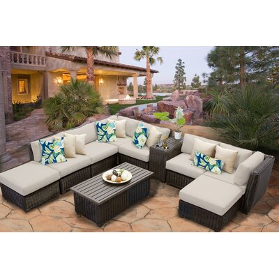 Venice 10 Piece Sectional Seating Group with Cushion Fabric: Beige