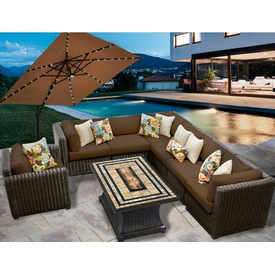 Venice 8 Piece Fire Pit Seating Group with Cushion Fabric: Cocoa