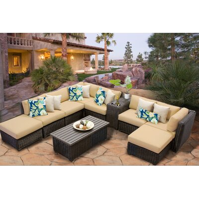 Venice 10 Piece Sectional Seating Group with Cushion Fabric: Sesame