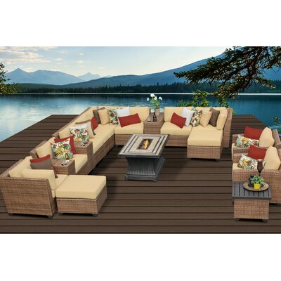 Laguna 17 Piece Fire Pit Seating Group with Cushion Fabric: Sesame