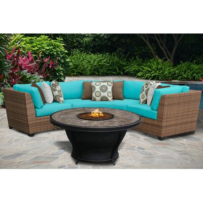 Laguna 4 Piece Fire Pit Seating Group with Cushion Fabric: Aruba
