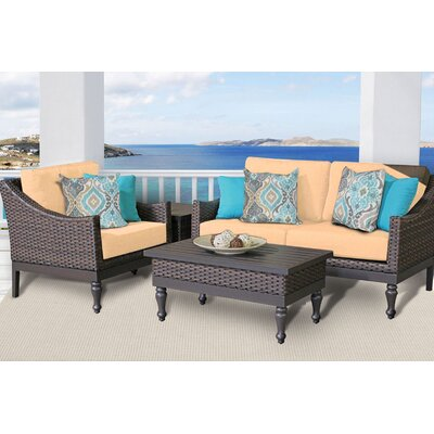 Manhattan 4 Piece Deep Seating Group with Cushion Fabric: Sesame