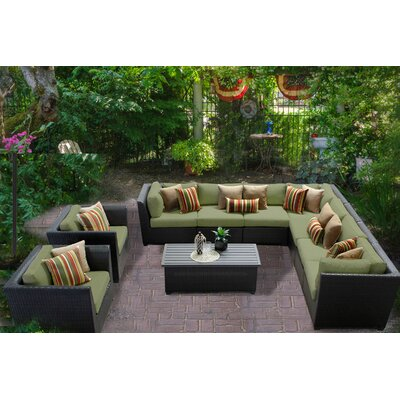 Barbados 10 Piece Sectional Seating Group with Cushion Fabric: Cilantro