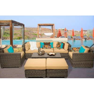 Cape Cod 8 Piece Deep Seating Group with Cushion Fabric: Sesame