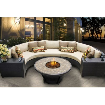 Barbados 6 Piece Fire Pit Seating Group with Cushion Fabric: Wheat