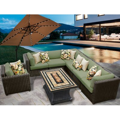 Venice 8 Piece Fire Pit Seating Group with Cushion Fabric: Cilantro