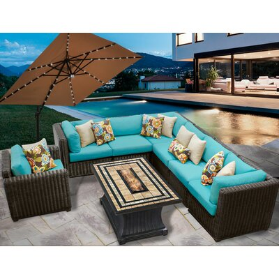 Venice 8 Piece Fire Pit Seating Group with Cushion Fabric: Aruba