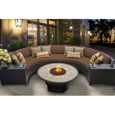 Barbados 6 Piece Fire Pit Seating Group with Cushion Fabric: Cocoa